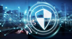 Businessman using shield safe protection with connections 3D ren. Businessman on blurred background using shield safe protection with connections 3D rendering Royalty Free Stock Photos