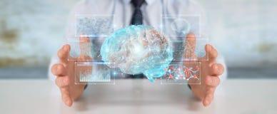 Businessman using digital 3D projection of a human brain 3D rend Vector Illustration