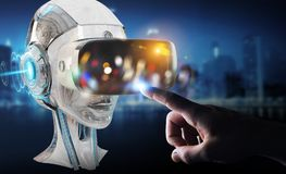 Businessman using virtual reality and artificial intelligence 3D. Businessman on blurred background using virtual reality and artificial intelligence 3D Stock Photos