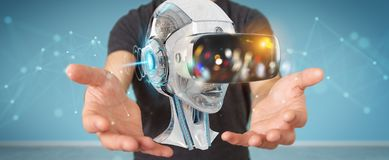 Businessman using virtual reality and artificial intelligence 3D. Businessman on blurred background using virtual reality and artificial intelligence 3D Stock Image