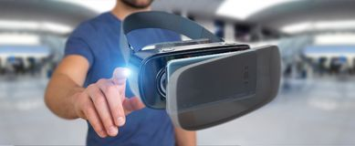 Businessman using virtual reality glasses technology 3D renderin. Businessman on blurred background using virtual reality glasses technology 3D rendering Royalty Free Stock Photography