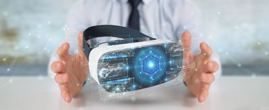 Businessman using virtual reality glasses technology 3D renderin. Businessman on blurred background using virtual reality glasses technology 3D rendering Royalty Free Stock Image