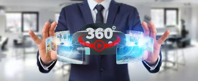 Businessman using virtual reality glasses technology 3D renderin. Businessman on blurred background using virtual reality glasses technology 3D rendering Stock Photos