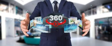 Businessman using virtual reality glasses technology 3D renderin. Businessman on blurred background using virtual reality glasses technology 3D rendering Stock Photo