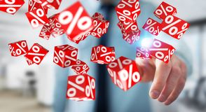 Businessman using white and red sales flying icons 3D rendering. Businessman on blurred background using white and red sales flying icons 3D rendering Stock Photography