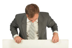 Businessman with board Royalty Free Stock Photography