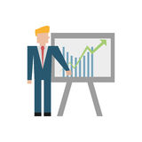 businessman with board graphic icon Royalty Free Stock Image