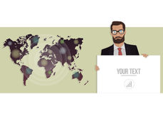 Businessman with a board and map of the world. Vector illustration for website. Businessman with a board and a map of the world Stock Photo