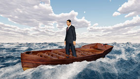 Businessman in a boat in the stormy sea Stock Image