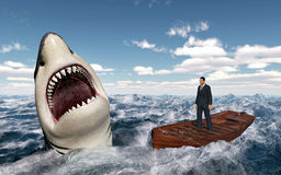 Businessman in a boat in the stormy sea and great white shark. Computer generated 3D illustration with a businessman in a boat in the stormy sea and a great royalty free illustration