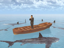 Businessman in a boat surrounded by sharks. Computer generated 3D illustration with a businessman in a boat surrounded by sharks Royalty Free Stock Photos