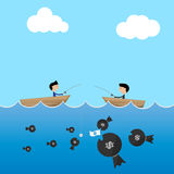 2 businessman in boat use big and small dollar bait Royalty Free Stock Image