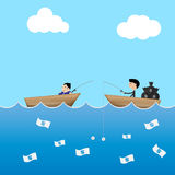 2 businessman in boat use  dollar bait to catch money business l Royalty Free Stock Photo