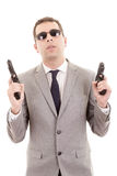 Businessman bodyguard isolated on a white Stock Images
