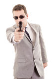 Businessman bodyguard isolated on a white Stock Photo