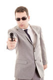 Businessman bodyguard isolated on a white Royalty Free Stock Photos