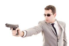 Businessman bodyguard isolated on a white Stock Photos
