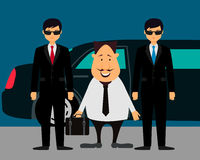 Businessman with bodyguards Royalty Free Stock Photos