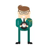 Businessman with bomb. Concept of business risk. Management, leadership and innovation. Flat cartoon bomb illustration. Objects  on a white background Stock Photography