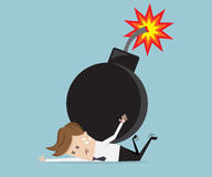 Businessman with bomb over his back. Business concept vector illustration Stock Photos