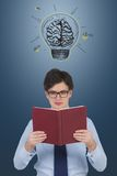 Businessman with a book. And lamp over head Stock Images
