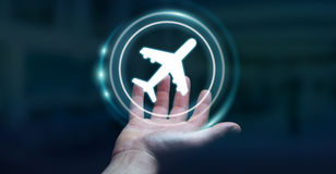 Businessman booking his flight with modern digital application 3. Businessman on blurred background booking his flight with modern digital application 3D Royalty Free Stock Photo