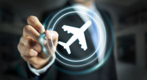 Businessman booking his flight with modern digital application 3. Businessman on blurred background booking his flight with modern digital application 3D Royalty Free Stock Photography