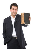 Businessman with books Royalty Free Stock Photo
