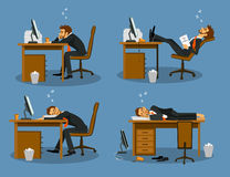 Businessman bored tired exhausted sleeping in the office scene Set. Humor office life vector illustration