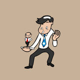 Businessman and boss in cell phone vector illustration