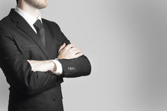Businessman boss crossed arms work warning Stock Photography