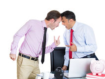 Businessman boss having an argument with his employee Stock Image