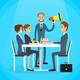 Businessman Boss Hold Megaphone Loudspeaker. Colleagues Business People Team Group Working Desk Flat Vector Illustration Stock Photography