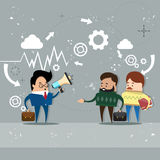 Businessman Boss Hold Megaphone Loudspeaker Colleagues Business People Team Leader. Group Businesspeople Vector Illustration Stock Photography