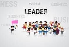 Businessman Boss Hold Megaphone Loudspeaker Colleagues Mix Race Business People Team Group. Flat Vector Illustration Stock Photos
