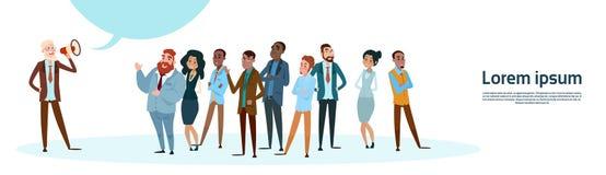 Businessman Boss Hold Megaphone Loudspeaker Colleagues Mix Race Business People Team Group. Flat Vector Illustration royalty free illustration