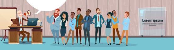Businessman Boss Hold Megaphone Loudspeaker Colleagues Mix Race Business People Team Group. Flat Vector Illustration Stock Photo