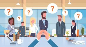Businessman Boss Looking At His Business Team With Questiion Mark Sitting At Desk, Leader With Group Of Businesspeople royalty free illustration