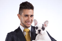 Businessman with a Boston Terrier dog Stock Photo