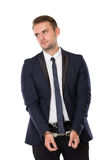 Businessman with both hand handcuffed Royalty Free Stock Image