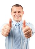 Businessman with both thumbs up Royalty Free Stock Images