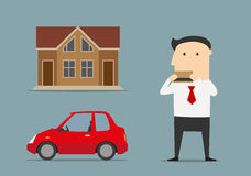 Businessman bought house and car by credit card Stock Photography