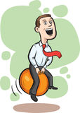 Businessman bouncing on space hopper Stock Photo