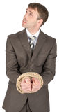 Businessman with bound hands Stock Images