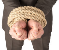 Businessman bound with rope Stock Images