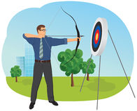 Businessman with bow and arrow stock illustration