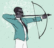 Businessman with bow and arrow, archery business illustration Stock Photos