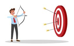 Businessman with bow and arrow at the big target royalty free illustration