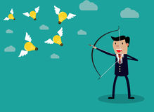 Businessman with a bow and arrow. Hitting the light bulb fly. Vector illustration for business concept royalty free illustration