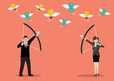 Businessman with a bow and arrow hitting the money fly Stock Images